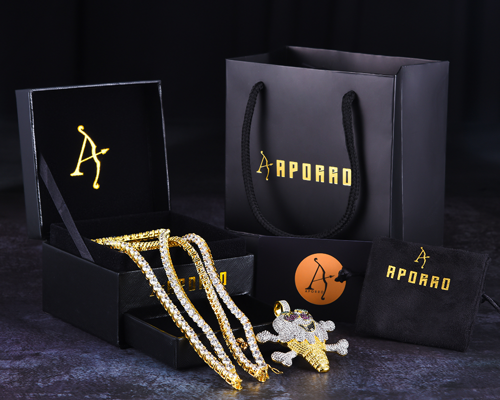 Aporro-street style tennis link chains jewelry